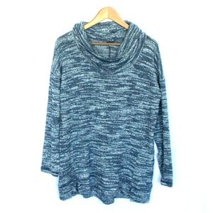 Aerie Marled Blue Cowl Neck Cozy Knit Sweater